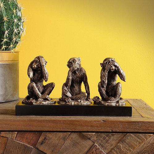 Libra Millbeck Bronze Finish Wise Monkeys Sculpture
