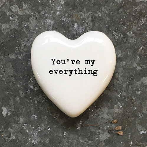 East of India White Heart Token - You're my everything