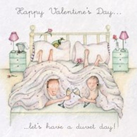 Happy Valentines Day... Let's have a duvet day! Berni Parker Card