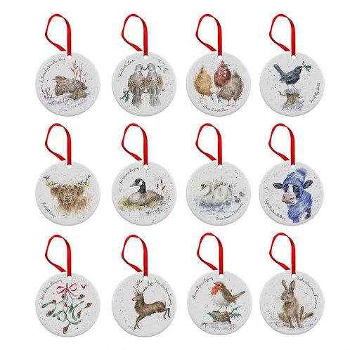 Royal Worcester Wrendale Designs 12 Days of Christmas Decorations