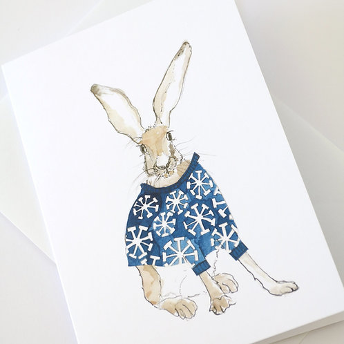Hare in the Sweater - Snowflake Sweater Card