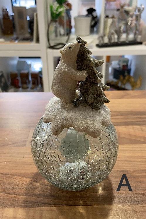 Polar Bear and Snowman Light up Globe
