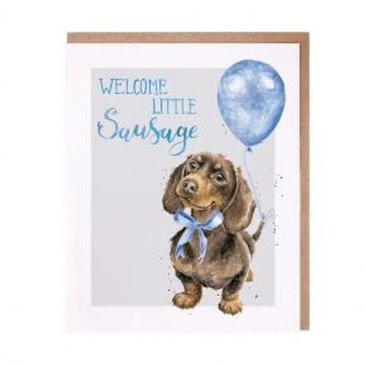 Welcome Little Sausage (Baby boy) Wrendale Card