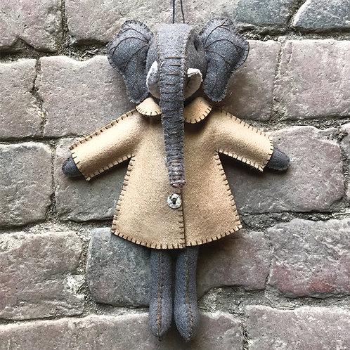 East of India Felt Elephant in Jacket - Ellie