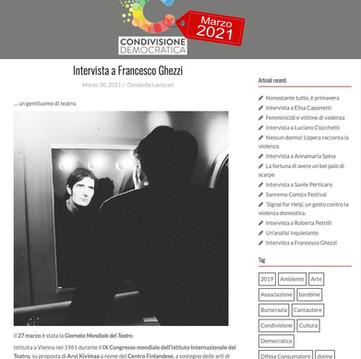 Francesco intervistato riguardo al Teatro, i progetti e il futuro di chi fa arte.