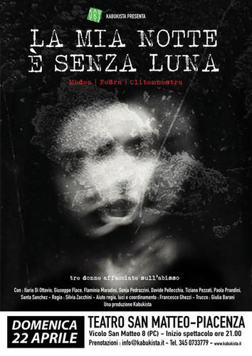 """Nuovo spettacolo in arrivo! """"La mia notte è senza luna"""" il 22 aprile a Piacenza"""
