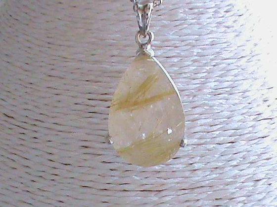 Pendentif argent 925 cristal de roche rutilé