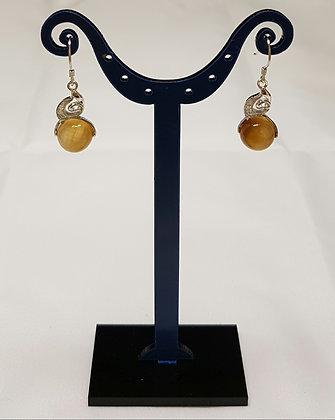Boucles d'oreilles pendantes argent 925 œil de tigre et oxyde de zirconium.
