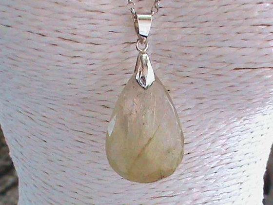 Pendentif sans chaîne argent 925 cristal de roche rutilé.