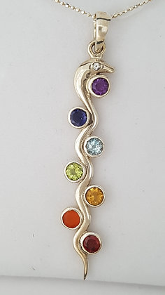Pendentif sans chaîne argent 925 serpent 7 chakras.