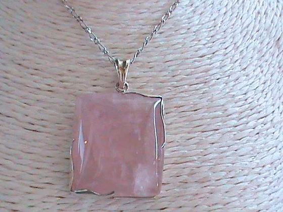Pendentif argent 925 quartz rose.