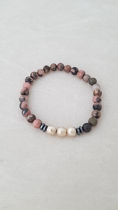 Bracelet élastique perles rhodonite, hématite et argent 925.