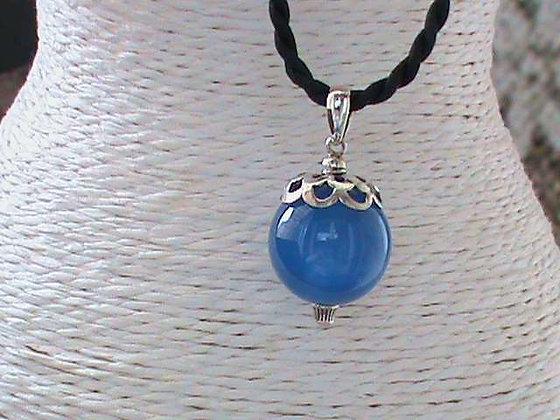 Pendentif argent 925 pierre agathe bleu.
