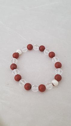 Bracelet perles en argent 925, perles cristal de roche et jaspe rouge.