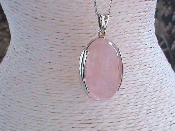 Pendentif argent 925 quartz rose poire