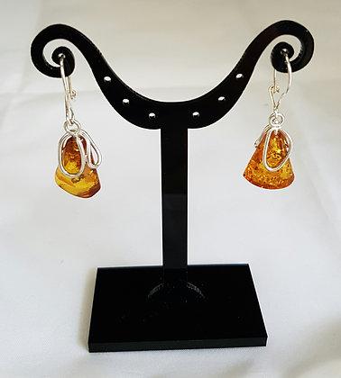 Boucles d'oreilles argent 925 ambre.