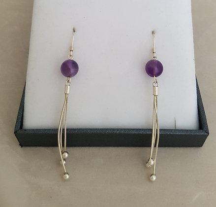 Boucles d'oreilles pendantes argent 925 et perles améthystes