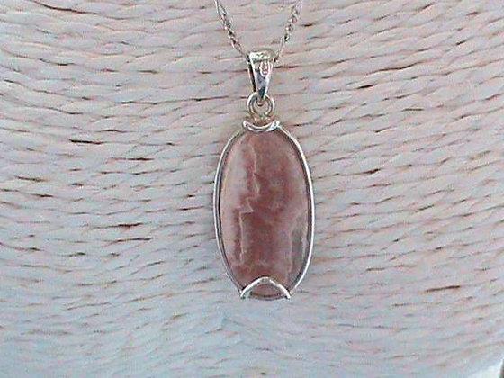 Pendentif sans chaîne argent 925 pierre rhodochrosite.