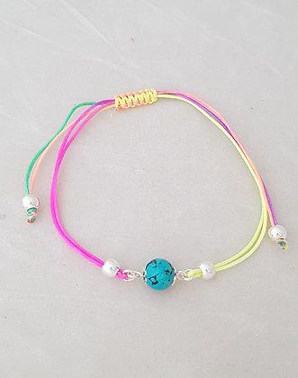 Bracelet cordon perles argent 925 et turquoise.