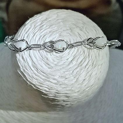 Bracelet argent 925 rhodié opale.