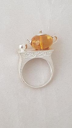 Bague argent 925 avec tasse et théière en ambre.