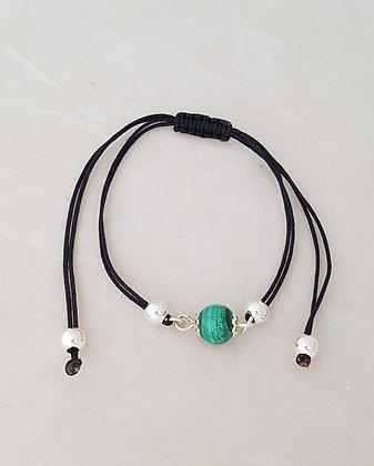 Bracelet cordon et argent 925 malachite.