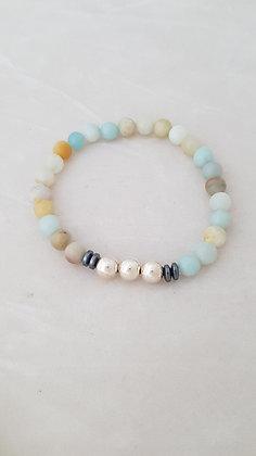 Bracelet élastique perles onyx, hématite et argent 925.