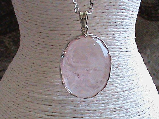 Pendentif sans chaîne argent 925 quartz rose.