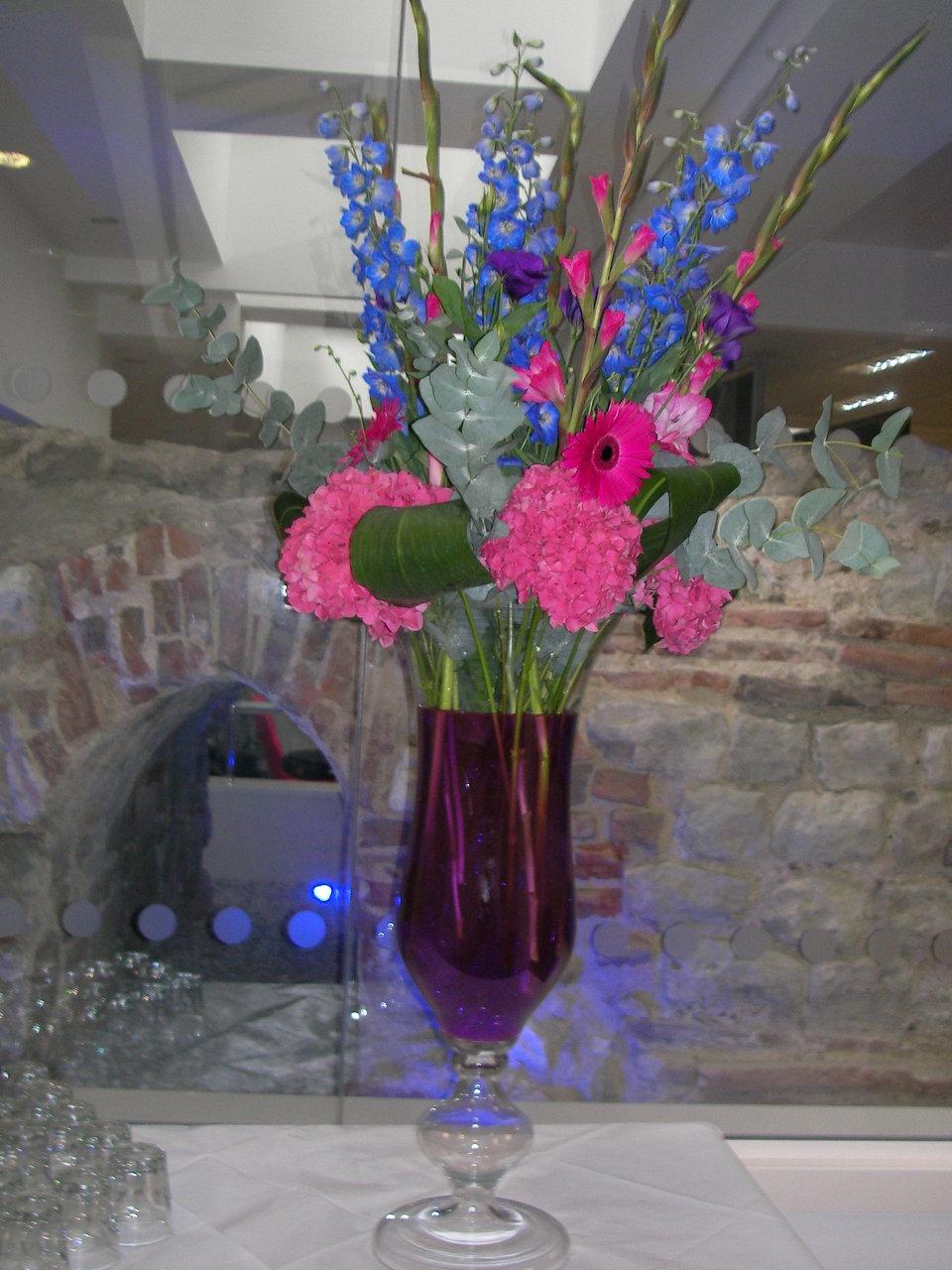 Hydrangeas and delphinium