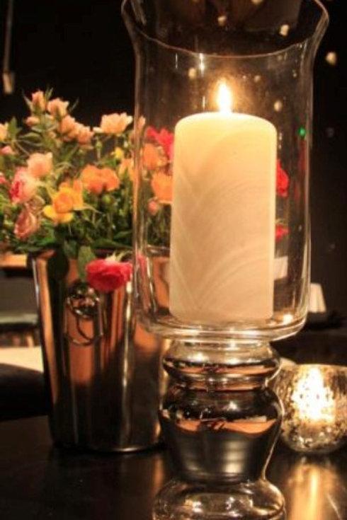 Silver based hurricane vase
