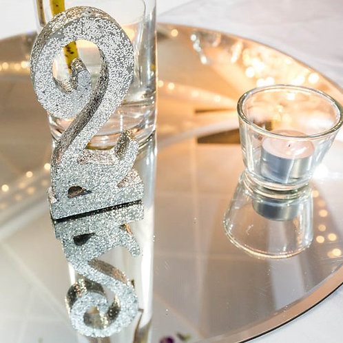 Silver Glitter Table Number