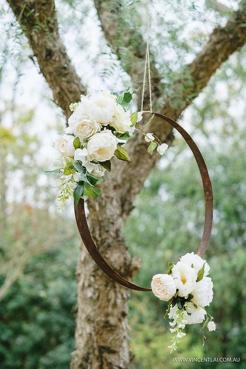 Rustic Hoop with life like blooms