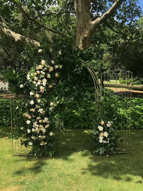 Antique Golden Arbour with life like foliage and blooms