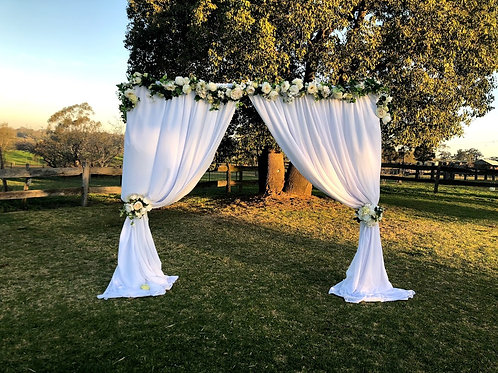 2 post freestanding arbour white chiffon & blooms