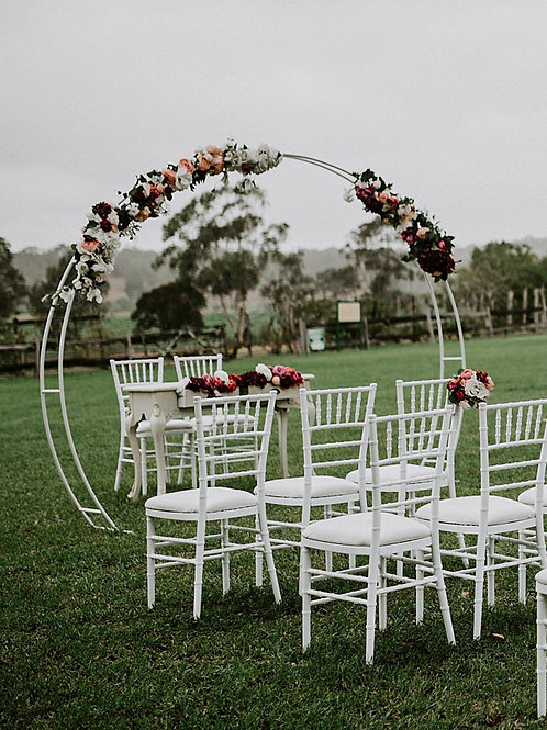 White Circular Arbour with life like blooms and foliage