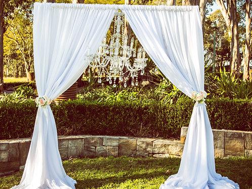 2 post freestanding arbour white chiffon & chandelier