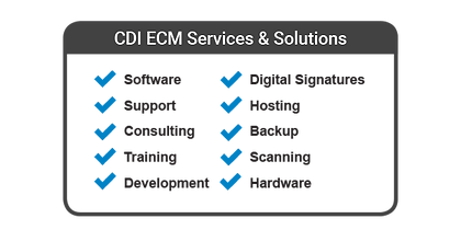 CDI LaserficECM Services & Solutions - Software, Support, Consulting, Training, Developmen, Digital Sinatures, Hosting, Backup, Scanning, and Hardware Image