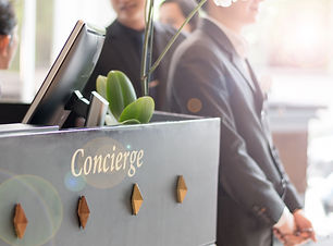 Concierge service desk counter with staf