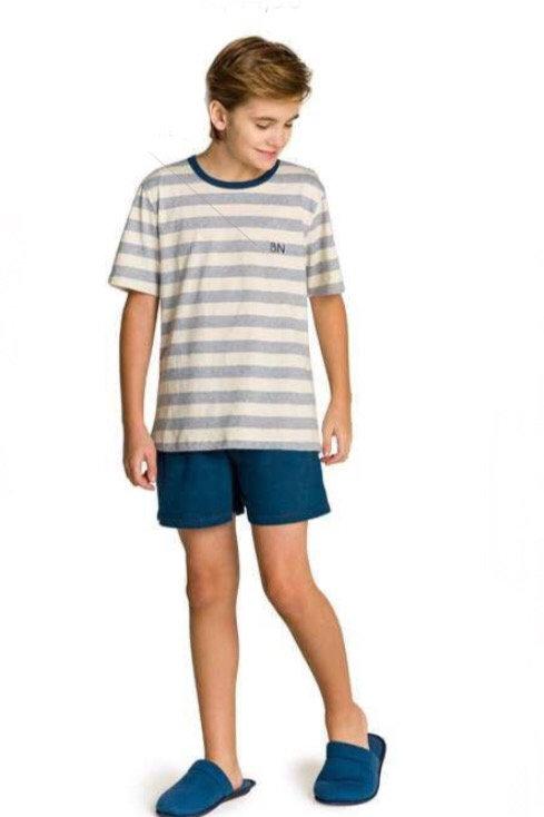 Pijama Juvenil Família Gatinho Listrado