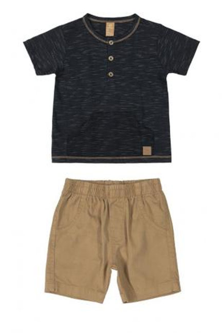 Conjunto Camisa Malha Listrada e Bermuda
