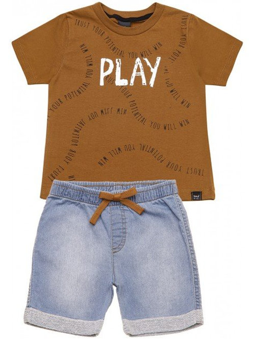 Conjunto Camiseta e Bermuda Jeans Confort