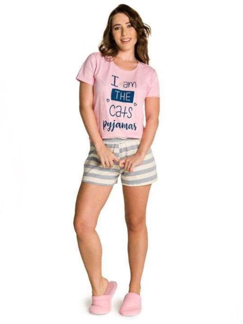 Pijama Adulto Família Gatinho Listra