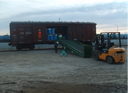 Unloading the freight wagon