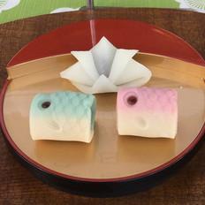 かぶと餅、練り切り製鯉のぼり.jpg