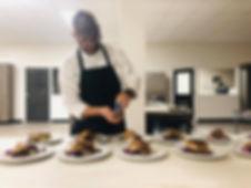 demonstration kitchen preparation with J