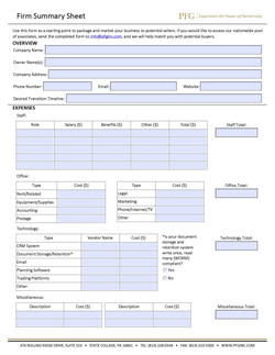 Firm Summary Sheet