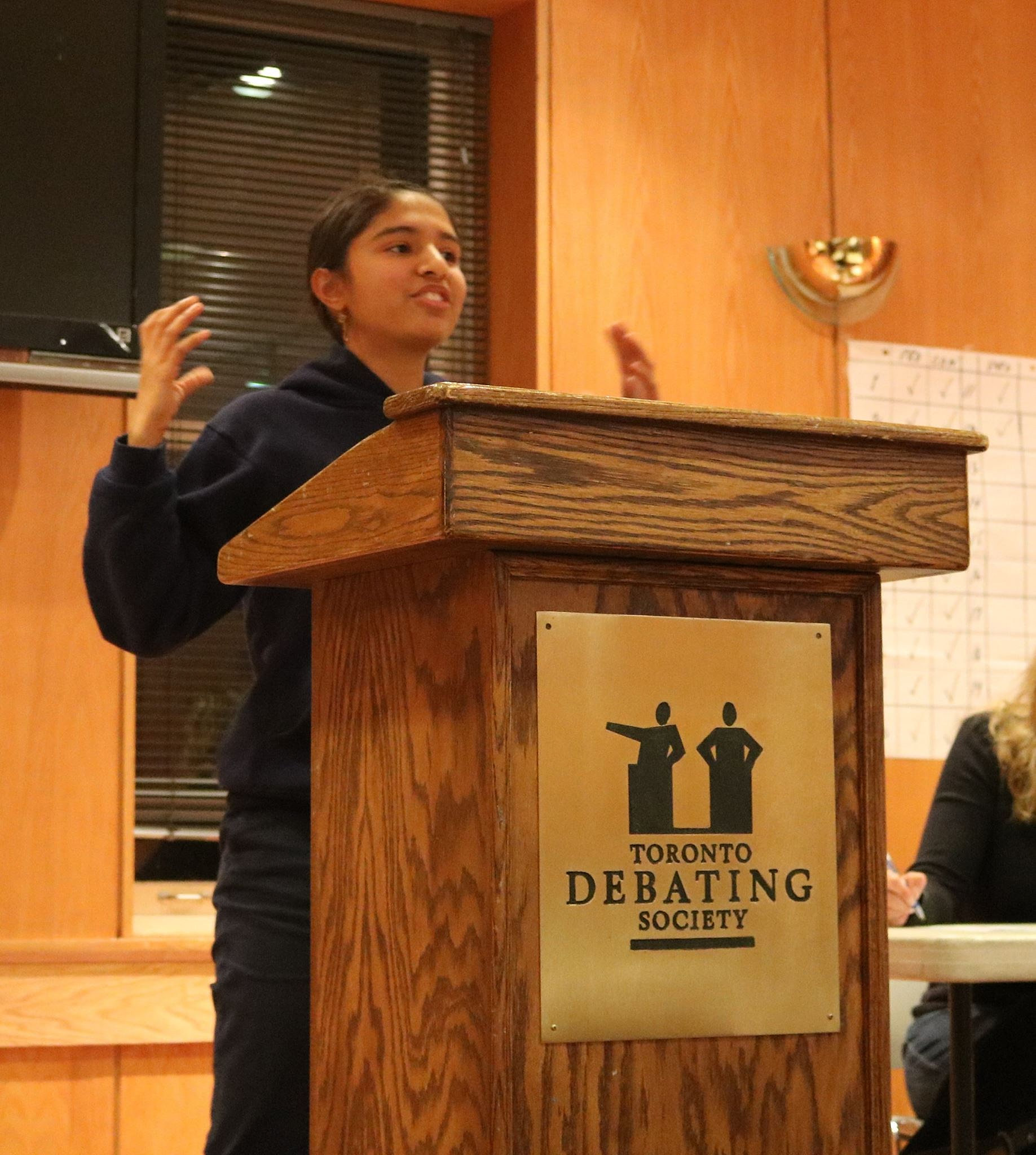 toronto debating society sanjana defends resolution