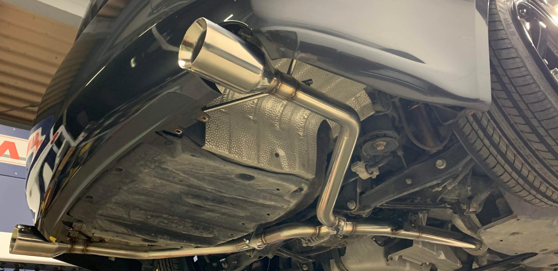 GSE21IS社外新品ベースセミワンオフマフラー-2車高短専用レイアウト変更、テ