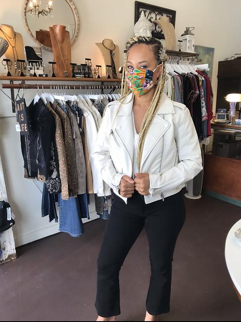 Ivory Vegan Leather Moto Jacket