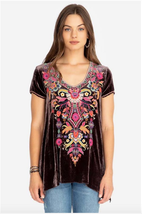 Johnny Was Ioana Embroidered Velvet Top